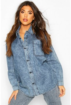 Acid Wash Denim Shirt, Mid blue, DAMEN