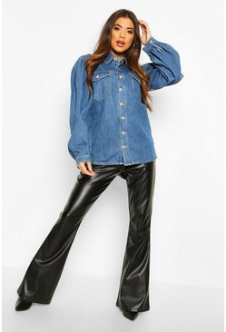 Balloon Sleeve Denim Shirt, Mid blue, Donna