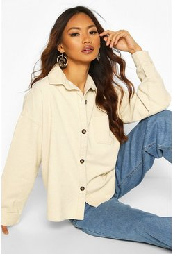 Oversized Mock Horn Button Cord Shirt, Ecru