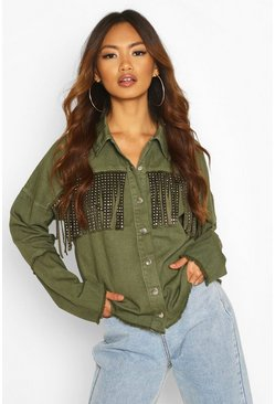 Khaki Studded Tassell Front Denim Shirt Jacket