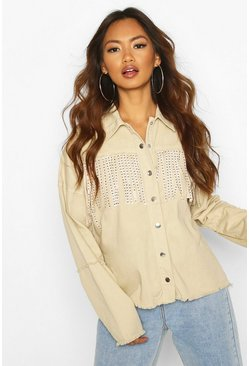 Studded Tassell Front Denim Shirt Jacket, Stone