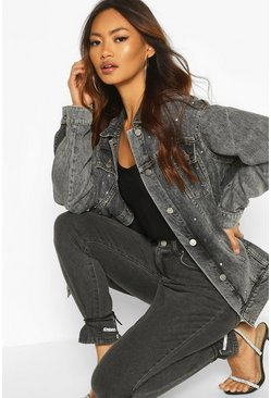 Oversized Studded Embellished Denim Jacket, Washed black