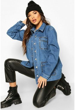 Womens Mid blue Studded Utility Denim Jacket