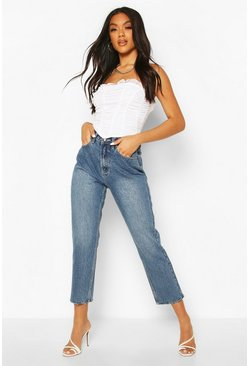 Mid blue High Rise Straight Leg Jeans