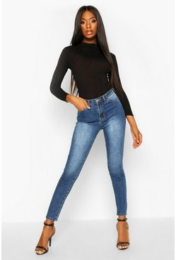 Mid blue High Rise Stretch Skinny Jeans