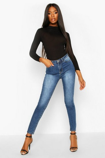 Womens Mid blue High Rise Stretch Skinny Jeans