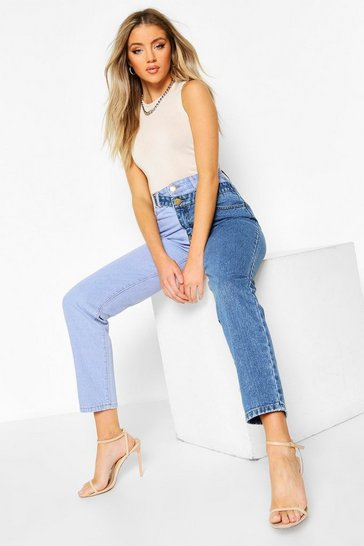 Blue High Rise Contrast Mom Jeans
