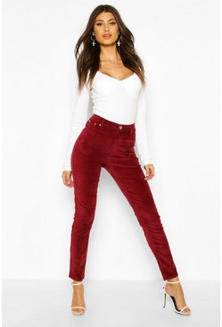 Berry High Waist Velvet Skinny Jean