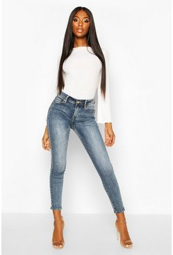 Womens Mid blue Mid Rise Stretch Skinny Jeans