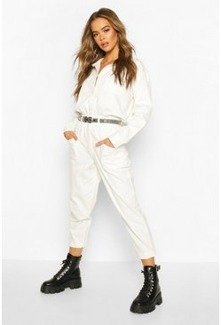 Utility Denim Boilersuit, Ecru