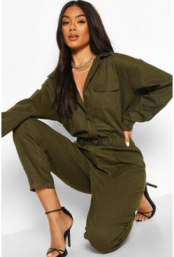 Utility Denim Boilersuit, Khaki