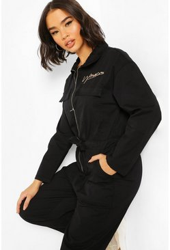 Zip Utility Slogan Denim Boilersuit, Black