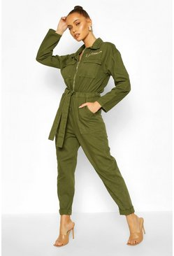 Khaki Zip Utility Slogan Denim Boilersuit