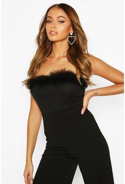 Womens Black Faux Fur Trim Bandeau Bodysuit