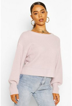 Lilac Slash Neck Knitted Jumper