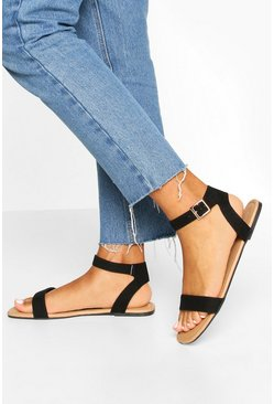 Square Toe 2 Parts Basic Sandals, Black