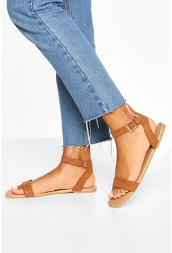 Square Toe 2 Parts Basic Sandals, Tan