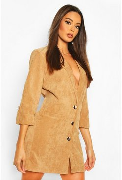Camel Baby Cord Blazer Dress