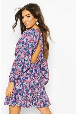 Womens Blue Floral Batwing Open Back Skater Dress