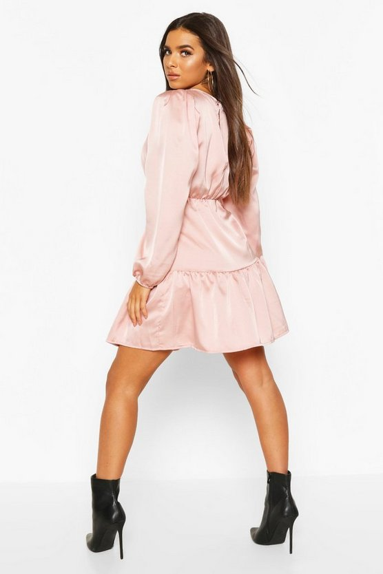 Satin Ruched Waist Mini Skater Dress
