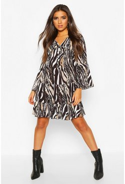 Animal Print Ruffle Skater Dress, Black, ЖЕНСКОЕ