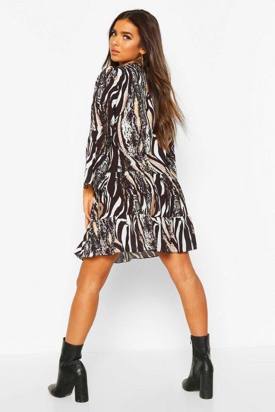 Animal Print Ruffle Skater Dress