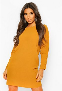 Dam Mustard Woven Button Cuff Mini Shift Dress