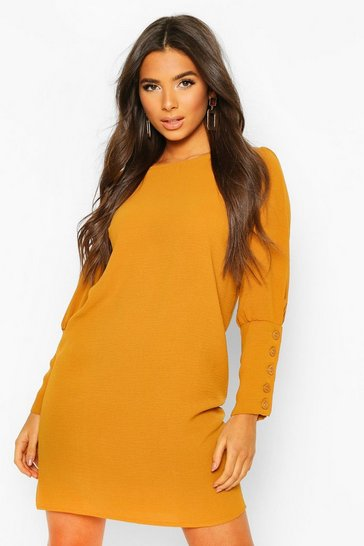 Mustard Woven Button Cuff Mini Shift Dress