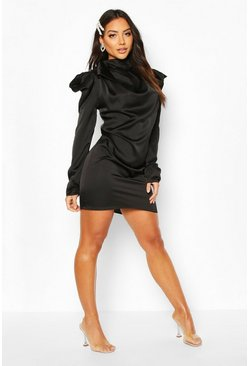Black Satin Pleated Puff Sleeve Pussy Bow Shift Dress