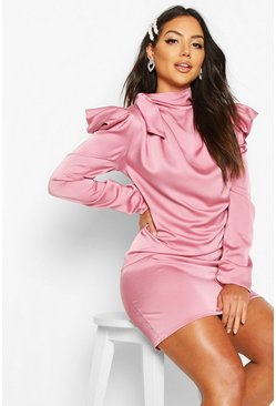 Satin Pleated Puff Sleeve Pussy Bow Shift Dress, Rose