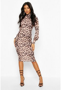 Leopard Roll Neck Midi Dress, Stone