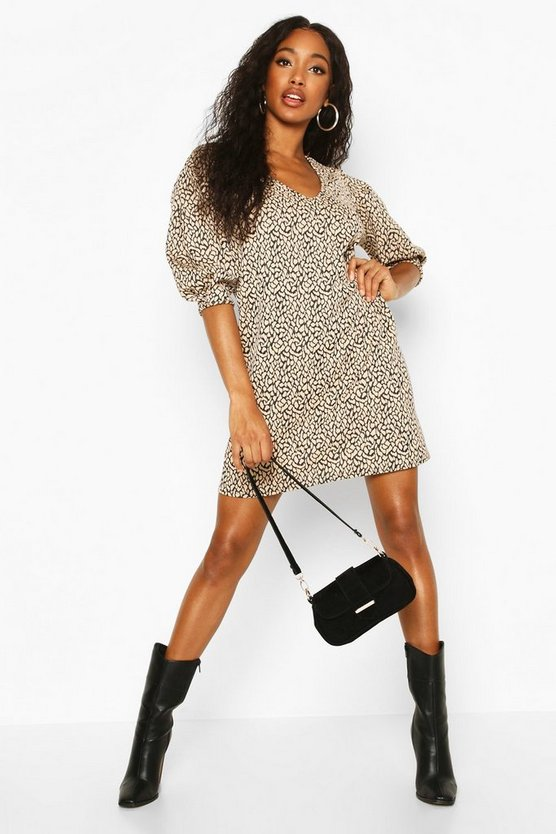Womens Stone Leopard Jacquard Puff Sleeve Shift Dress