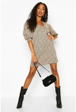 Leopard Jacquard Puff Sleeve Shift Dress, Stone, FEMMES