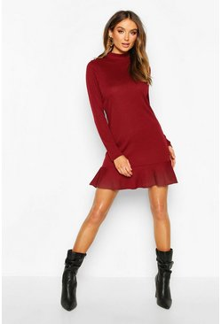 Rib High Neck Button Detail Shift Dress, Wine, FEMMES