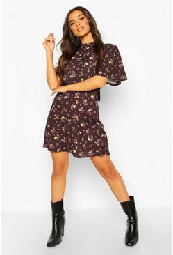 Floral Tie Neck Curved Hem Skater Dress, Black