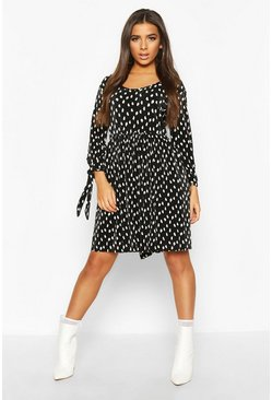 Black Plisse Pleated Spot Tie Sleeve Smock Dress
