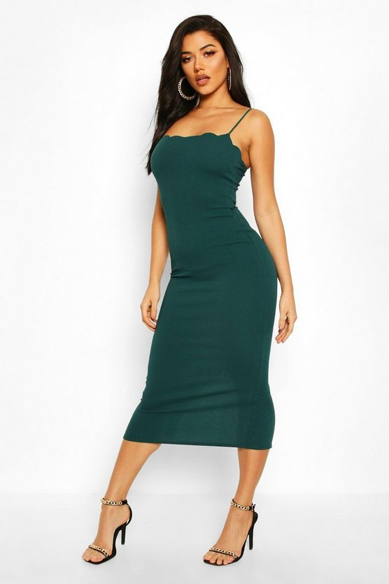 Womens Bottle green Scallop Detail Midaxi Dress