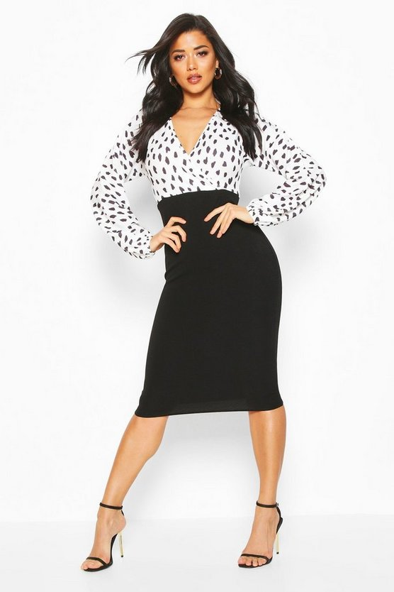 Black Spot Wrap Print Contrast Midi Dress