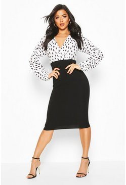 Womens Black Spot Wrap Print Contrast Midi Dress