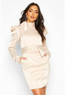 Extreme Shoulder Belted Mini Dress, Champagne