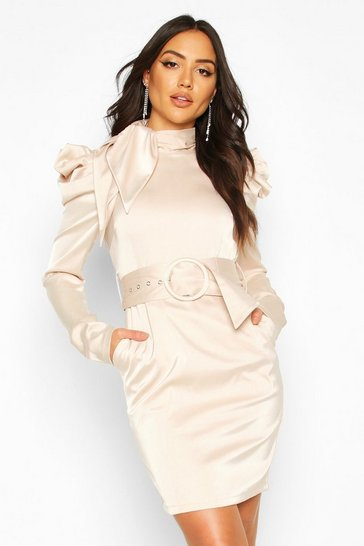 Womens Champagne Extreme Shoulder Belted Mini Dress