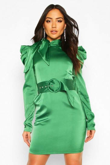Emerald Extreme Shoulder Belted Mini Dress