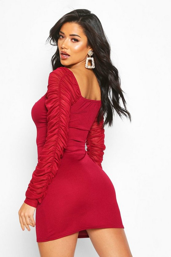Ruched Mesh Sleeve Bow Front Mini Dress