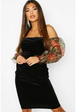 Black Velvet Floral Organza Sleeve Midi Dress