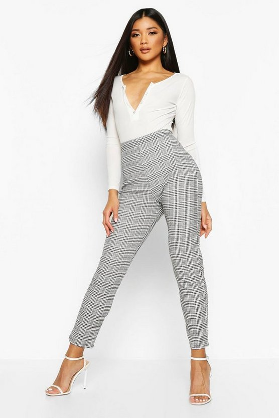 Black Check Tapered Leg Trouser