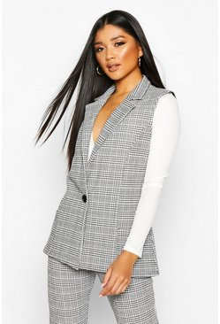 Black Check Longline Sleeveless Blazer With Button