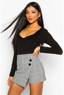 Check Skort With Button Detail, Black, MUJER