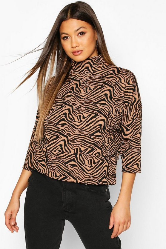 Black Funnel Neck Top In Textured Jacquard
