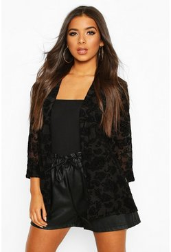 Black Edge To Edge Blazer In Mesh With Tonal Flock