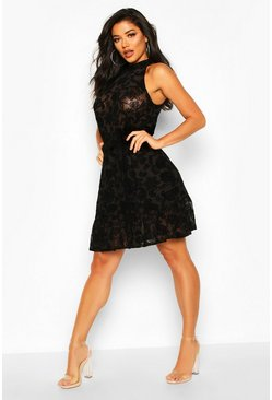 Black Ruffle Hem High Neck Dress In Mesh With Flock